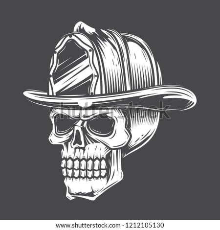 642deebd8dab2 Black and white skull in a fireman hat against a dark background. Vector  illustration.