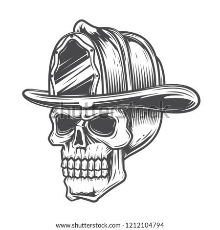 39f320723deb5 Black and white skull in fire helmet on white background. Vector  illustration.  1212104794