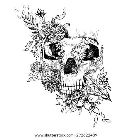 black and white skull isolated