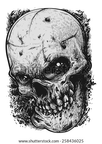 black and white skull tattoo