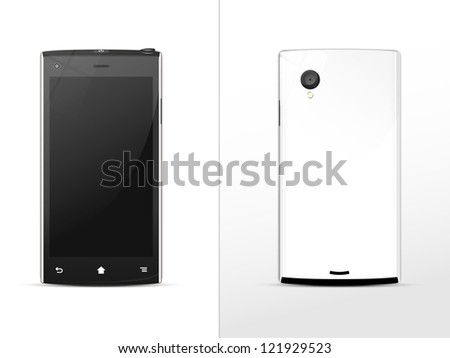 black-and-white smart phone, front and rear