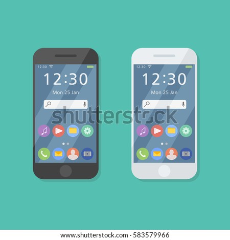Shutterstock Black and white smartphone isolated on background. Mobile phone with user interface on screen. Flat style icon. Vector illustration.