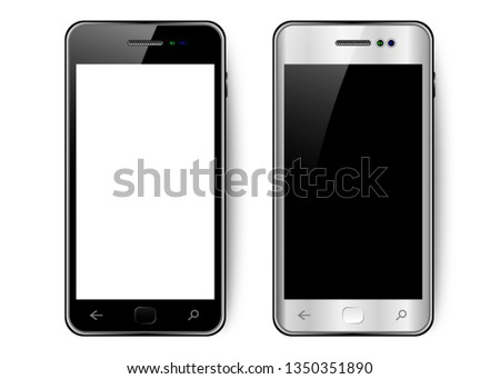 Black and white smartphone with shadow and glare, mobile phone with blank screen, vector illustration