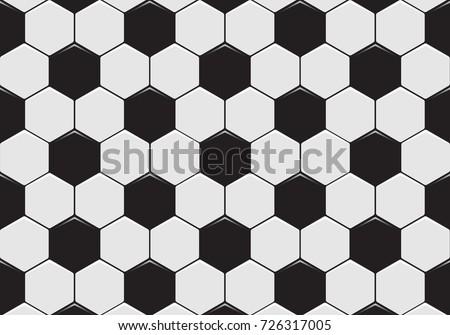 Black And White Soccer Ball Pattern Background. Vector Illustration.