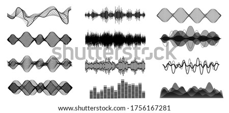 Black and white sound waves. Voice assistant equalizer set on white background. Music audio, voice signal lines, electronic radio signal. Vector curve voice waves.