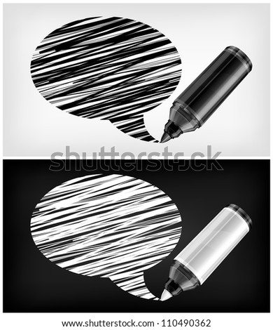 Black and white speech bubbles and felt tip pens, vector illustration