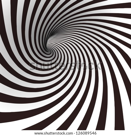 Stock Photo Black and white spiral tunnel. Vector