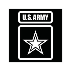 Black and white sticker with the inscription U.S.ARMY and five-pointed star. Vector illustration.