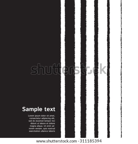 Black and white striped monochrome background with space for text. Black stripes of different width on white backdrop. Brush drawn - rough, artistic edges.
