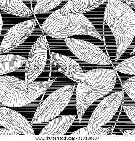 Black and white striped texture tropical seamless pattern.