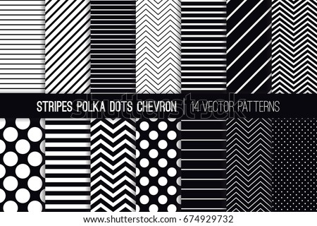 Black and White Stripes, Chevron and Polka Dot Vector Patterns. Modern Minimal Backgrounds. Diagonal and Horizontal Variable Thickness Lines. Tiny to Jumbo Spots. Pattern Tile Swatches Included.