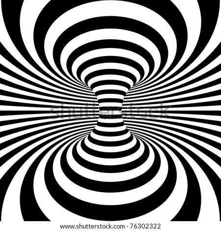 Black and White Stripes Projection on Torus. Vector Illustration