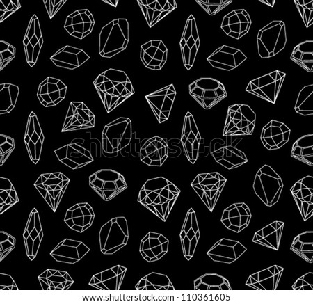 Black and white style diamonds background. Geometric seamless pattern with linear diamonds.
