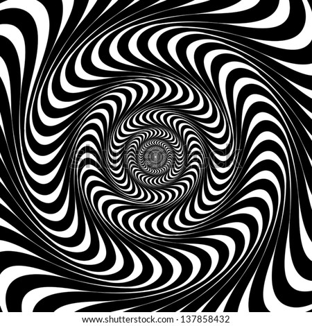 Black and white swirl lines optical illusion background vector