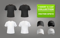 Black and white t-shirt and baseball cap set, front and back view, vector eps10 illustration