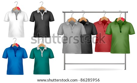 Black and white t-shirt design template. Clothes hanger with shirts with price tags. Vector illustration.