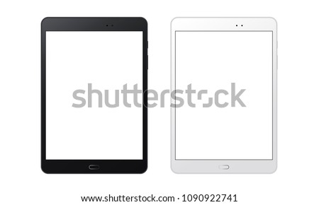 Black and white tablet computers mockups with blank screens. Responsive screens to display your mobile web site design. Vector illustration