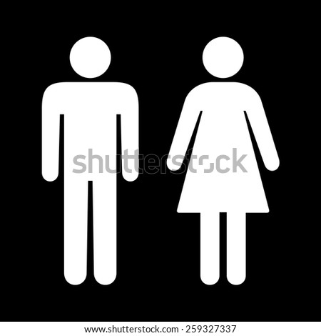 Black and white toilet restroom sign