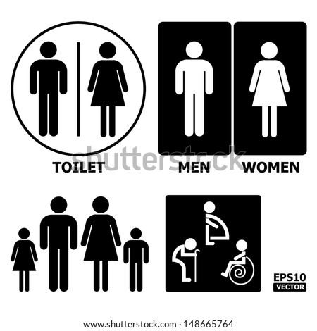 Black and White Toilet Sign with Toilet, Men, Women text, pregnent women, aged and handicapped.-eps10 vector