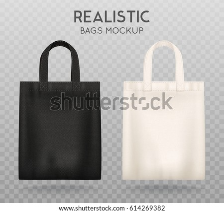 Black and white tote shopping bags realistic corporate identity mock-up items template transparent background vector illustration