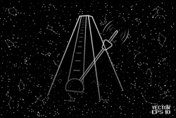Black and White Translucent Metronome with Pendulum. Endless Time Symbol. Single Object Isolated on Starry Night Background. Panoramic Sky Map of Hemisphere. Vector. 3D Illustration
