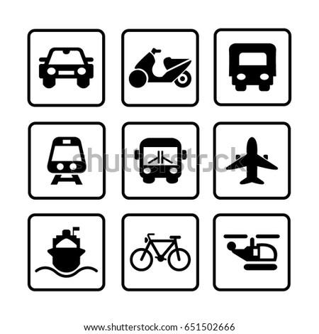 Black and white transportation icons. Vector illustration.