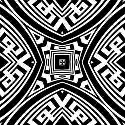 Black and white tribal ethnic seamless pattern. Vector modern background. Geometric greek key, meanders abstract ornament with geometrical shapes, fractals, lines. Ornate repeat symmetric design.