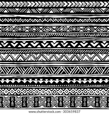 Black And White Tribal Navajo Seamless Pattern. Aztec ...