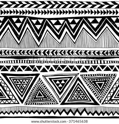 black and white tribal Navajo vector seamless pattern with doodle elements. aztec abstract geometric art print. ethnic hipster backdrop. Wallpaper, cloth design, fabric, paper, textile. Hand drawn - Shutterstock ID 371465638