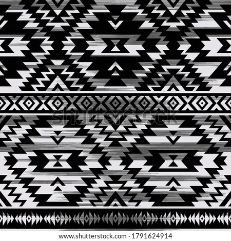 black and white tribal vector seamless embroidery pattern. aztec abstract geometric art print grunge. Ethnic vector background. Wallpaper, cloth design, fabric, tissue, cover, cotton, textile template