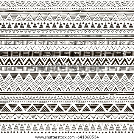 black and white tribal vector seamless pattern with doodle elements.  aztec fancy abstract geometric art print. ethnic hipster background. Wallpaper, cloth design, fabric, paper, textile. hand drawn