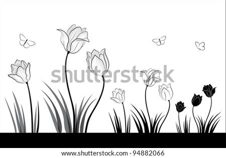 Black and white tulips and butterflies. A small set of spring flowers.