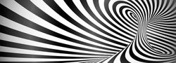 Black and white twisted lines horizontal background, optical illusion