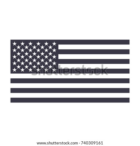 black and white United States of America US flag symbol. USA flag icon. Vector illustration. #740309161