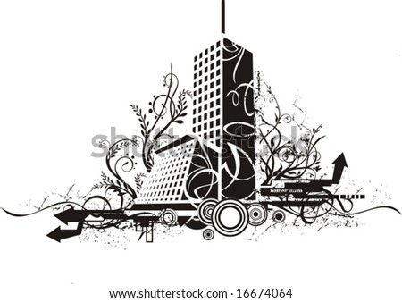 black and white urban backgrounds. stock vector : Black and white urban design with ornamental and grunge