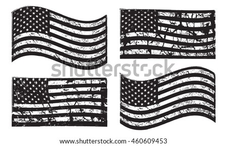 Black and white USA American grunge flag set, isolated on white background, vector illustration. #460609453