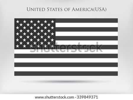 Black and white USA flag.American flag vector illustration. #339849371