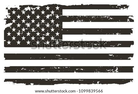 Black and white USA flag.Vector American flag. #1099839566