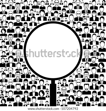 Black and white vector background consists of many icons of modern humans. concept search.