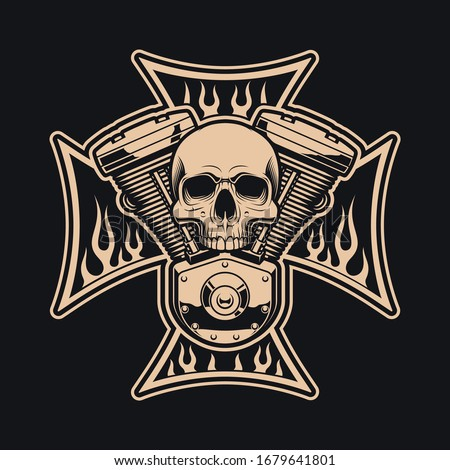 Black and white vector biker's cross with motorcycle engine.  This design can be uses as a logo, apparel designs and many other uses.
