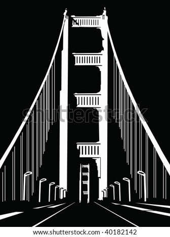 black and white vector bridge