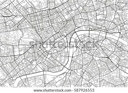 black and white vector city map