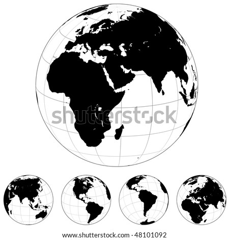 stock vector : Black and white vector Earth globes isolated on white.