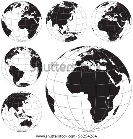 Black and white vector Earth globes isolated on white. - stock vector