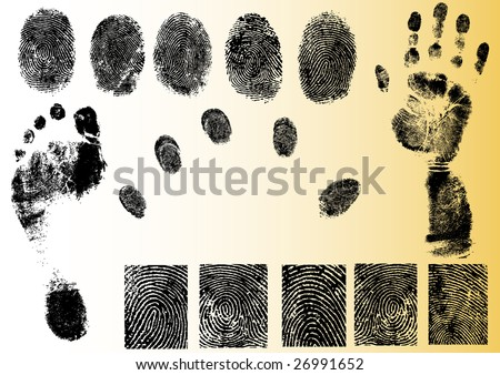 Black and White Vector Fingerprint and footprint elements - Very accurately scanned and traced ( Vectors are transparent so it can be overlaid on other images, vectors etc.)
