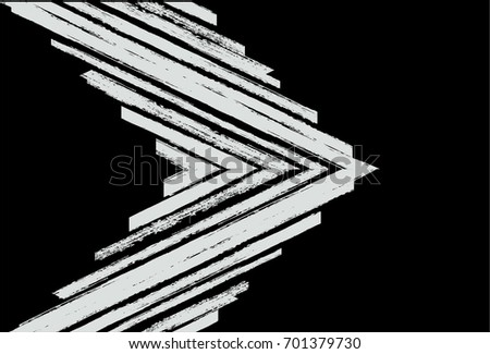 Black and white vector geometrical pattern. Trendy hipster textile background. Retro vintage fabric stripy design. Grey scale paintbrush ink strokes.