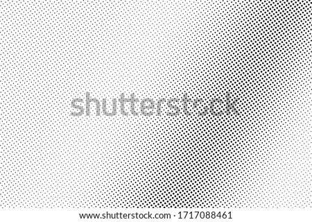 Black and white vector halftone. Industrial half tone texture. Subtle dotted gradient. Retro effect overlay. Grunge dot pattern on transparent backdrop. Modern graphic halftone perforated surface