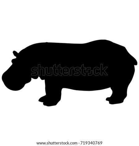 black and white vector hippo silhouette