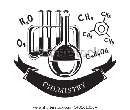 Black and white vector icon science chemistry. Flask, test tube rack and chemical formulas. Chemical concept design. Vector illustration