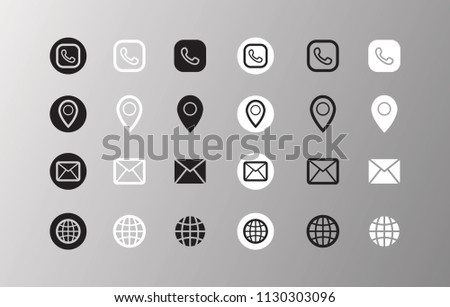 Black and white vector icons. Minimal trendy design for business cards. Phone number, location ( Address), email and website.